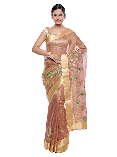 Style-In-Banaras Women's Tissue Saree (Beige)