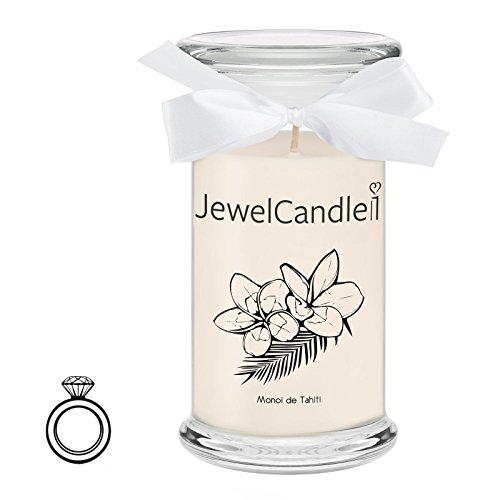 Jewelcandle monoi de tahiti - candela in vetro con un gioiello - candela profumata bianca con una sorpresa in regalo per te (anello in argento sterling 925, tempo di combustione: 90-125 ore)(m)