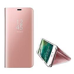 Kompatibel iPhone 8 Hülle, iPhone 7 Hülle Mirror Case Spiegel Handyhülle PU Leder Flip Case Cover Schutz Echtleder Tasche Etui Lederhülle Schutzhülle Echtledertasche für 7/8 plus (Rose Gold, iPhone 8)