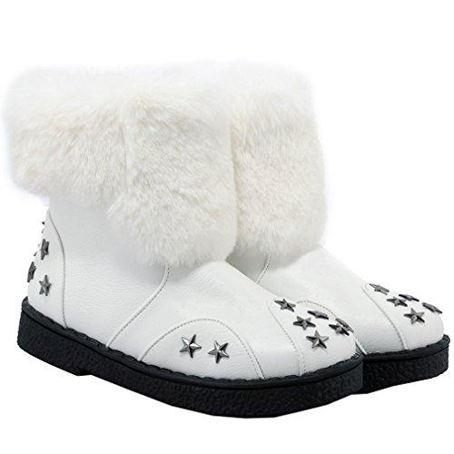 ENMAYER Femmes Mesdames Doux Bottes De Neige Ronde Toe Avec Plateforme Plate Peluche et Motif en étoile Blanc