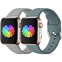 CeMiKa Compatible with Apple Watch Strap 38mm 40mm 42mm 44mm, Silicone Replacement Wrist Strap Compatible with Apple Watch SE/iWatch Series 6, Series 5 4 3 2 1, 38mm/40mm-M/L Grey/Pinegreen