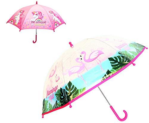 Paraguas Infantil Unicornio Flamenco niña. Pack 2