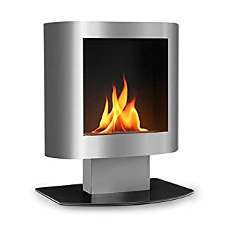 OneConcept Phantasma Tower Ethanol Fireplace • Safety Burner • Extinguishing Aid • Smokeless • Soot-Free • Up to 4 Hours of Burn Time • Stable Stance • Easy Operation • Silver