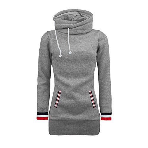 Frauen Langarm Kapuzenpullis Damen Hoodies Langarm Kapuzenpulli Sweatshirt Pullover Tops Bluse MYMYG Drucktasche Kapuzen Sweatshirt(B3-Grau,EU:36/CN-M)