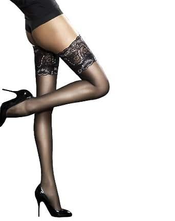 "Fiore Sandrine lace top hold-ups white small 5'0""-5'4"""