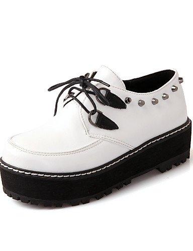 ZQ Scarpe Donna - Stringate - Ufficio e lavoro / Formale / Casual - Tacchi / Creepers / Comoda / Punta arrotondata / Chiusa - Piatto -Finta , 1in-1 3/4in-white 1in-1 3/4in-white