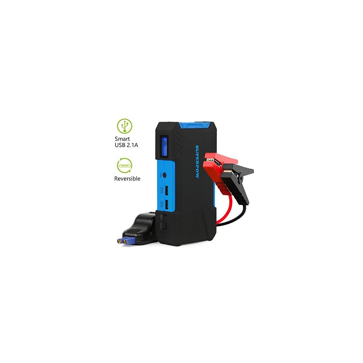 41IkIqPFDiL. SS1200  - superpow D12 - Arrancador de Coche 800A,Jump Starter 18000mAh para Coches (Pantalla LCD, Doble USB Salidas, LED, Cable de Pinzas Inteligentes)