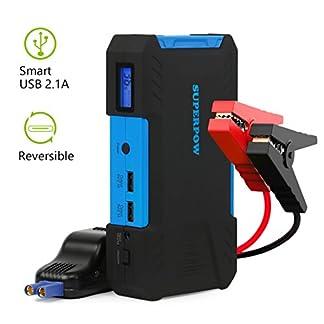 superpow D12 – Arrancador de Coche 800A,Jump Starter 18000mAh para Coches (Pantalla LCD, Doble USB Salidas, LED, Cable de Pinzas Inteligentes)