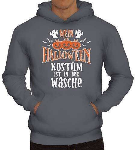 ShirtStreet Grusel Gruppen Herren Hoodie Männer Kapuzenpullover Mein Halloween Kostüm ist in der Wäsche 2, Größe: L,Grau