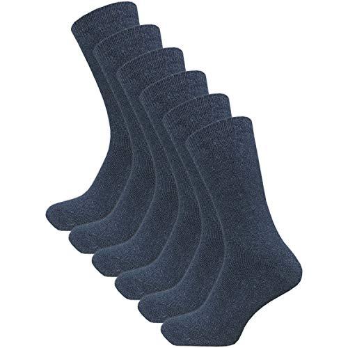 GAWILO 6 Paar warme Herren Winter Thermo Socken mit Wolle - Vollplüsch (43-46, jeans)
