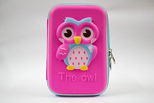 Cute Owl Face Hardtop Pencil Case Big Pencil Box /Pencil Pouch(Pink)