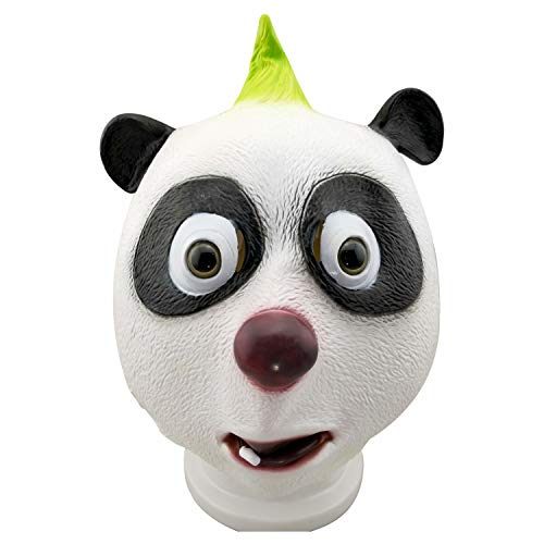 WYJSS Panda Maske tierkopf Maske Party Deluxe neuheit Halloween kostüm Latex schöne Maske kostüm lustige Geschenke Dress up Requisiten,White-OneSize