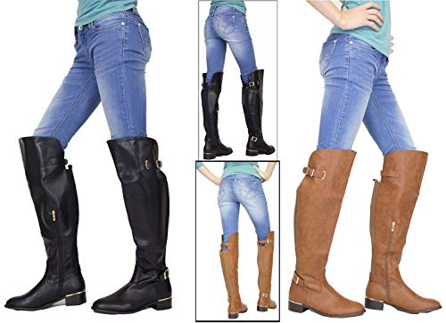 f32c2e0cc861 Flirty Wardrobe Womens Long Knee High Boots Buckle Detail Ladies Flat Block  Heel Pu Leather Winter S - £24.98