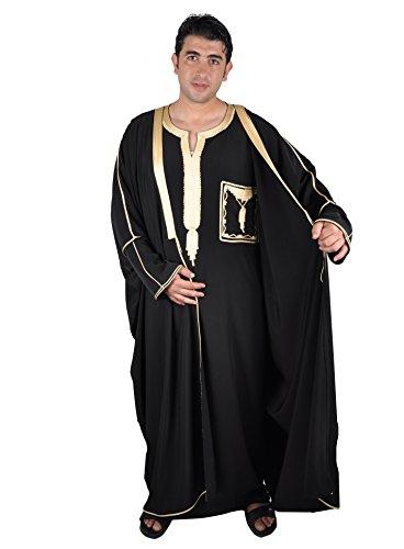Egypt Bazar Zweiteiliges Araber Scheich Kostüm Scheichkostüm, Karnevalskostüm - Faschingskostüm- Kaftan mit Umhang, schwarz/Gold (52-54 ()