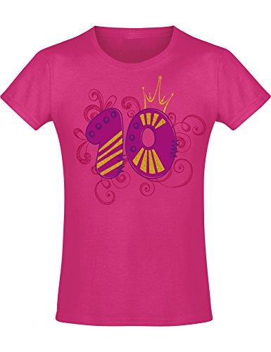 Shirt: 10 Jahre mit Krone Kinder - Geburtstags T-Shirt 10 Jahre Kind Mädchen - Geschenk zum 10. Geburtstag - Mädchen T-Shirt 10 Geburtstag - Geburtstag-Shirt Kinder 10 (140 (9-10 Jahre))