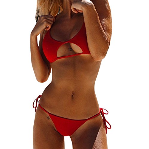 Bikini Set Push-Up Gepolsterte Badebekleidung Badeanzug Bade Beachwear (Rot, Small) ()