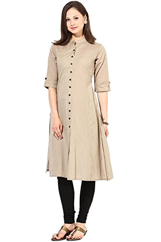 Shyam Export Womens Lowest Rate Casual Wear Kurti Mega Sale Offer (Cream)