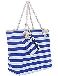 Bolsa de playa grande con cremallera 58 x 38 x 18 cm rayas marítimas shopper bolsa de hombro bolsa de playa (beach bag)