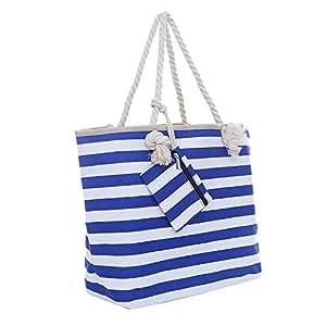 Große Strandtasche mit Reißverschluss 58 x 38 x 18 cm maritime Streifen blau weiß Shopper Schultertasche Beach Bag