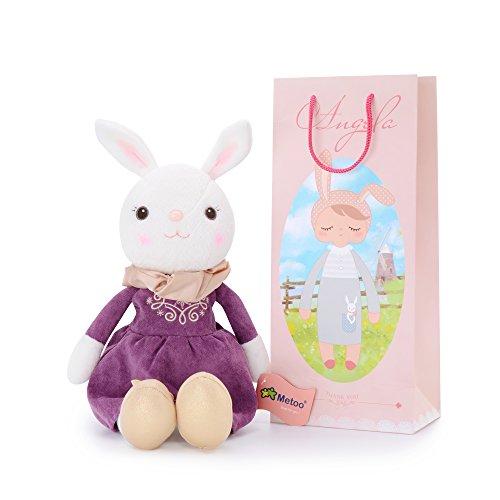 Metoo Plüsch Hase Kaninchen Puppen Plüschtiere Tiramitu Kaninchen Tragen Lila Kleid mit Geschenktüte (16 Zoll) - Mädchen Geschenke (Ostern Papier-puppen)