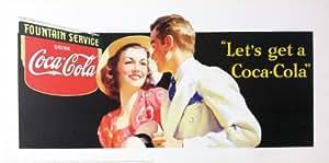 """Coke Vintage Poster rétro Coca-Cola Pub 1939 Art Poster Print. """"Let's get a Coca-Cola-Couple"""" (23 1/2 """"x 11"""" 3/4 """")"""