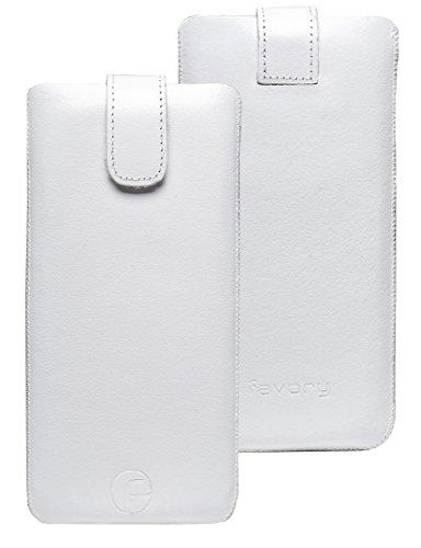 Original Favory Etui Tasche für / Primo 215 by Doro / Leder Etui Handytasche Ledertasche Schutzhülle Case Hülle Lasche *mit Rückzugfunktion* Weiss