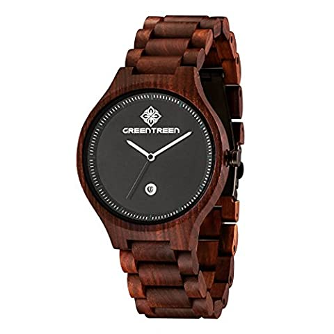 Greentreen Wooden Watches Handmade Solid Reddish Wood Watch for Men Quartz Display with Date Calendar Color
