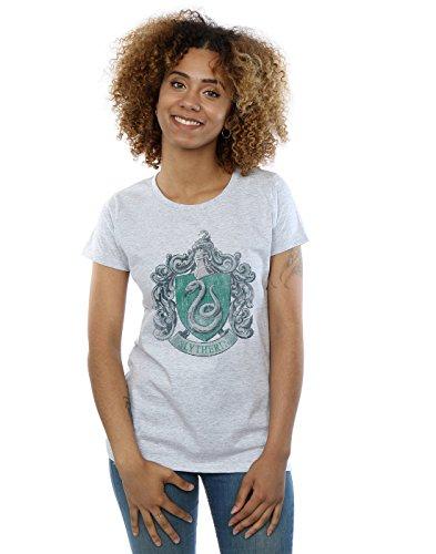 HARRY POTTER Damen Slytherin Distressed Crest T-Shirt Small Sport Grey