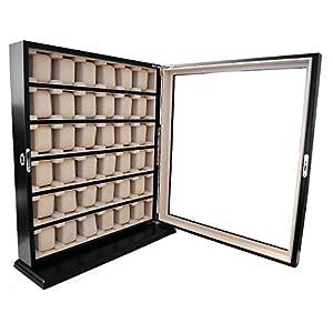 Uhrenvitrine Wand – Tischvitrine für 36 Uhren schwarz mit Sichtfenster