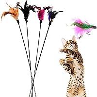 Demarkt 4X Katzenangel Federwedel Katzenspielzeug mit Federn mit Glocke zufällige Farbe