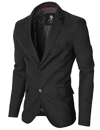 MODERNO - Slim Fit Business Herren Sakko Blazer (MOD14514B) Schwarz EU S