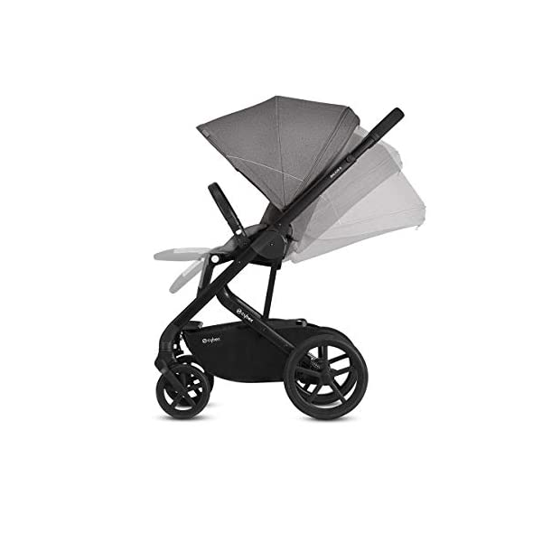 CYBEX Gold Balios S Pushchair, From Birth to 17 kg (approx. 4 years), Denim Blue Cybex Stylish, high-quality pushchair with reversible, comfortable seat and 5-point harness - Suitable for use from birth to 17 kg (approx. 4 years) with Cot S attachment - Including raincover for optimum use in all weather conditions High mobility: All-terrain wheels with soft-wheel suspension, Swivelling and lockable front wheels, Easy one-hand folding to compact size (41 x 60 x 75 cm), Travel system compatibility with CYBEX and gb baby car seats and Cot S pushchair attachment Carefree everyday life: One-hand recline adjustment of seat, Spacious shopping basket, Adjustable footrest, High seat height, XXL sun canopy, 4-point adjustable push handle with max. height of 110 cm 2
