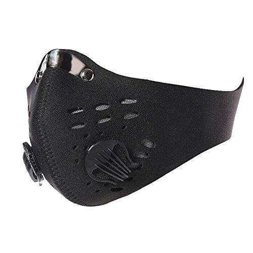 Reiten Winddicht Maske erthome Aktivkohle Antistaub Fahrrad Motorrad Racing Ski Halbe Gesichtsmaske (Schwarz)