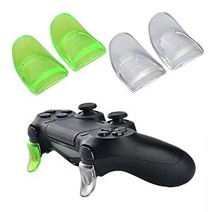 YoRHa L2 & R2 Trigger Button Auslöser Taste Extender x 2 (klar&Grün) für PS4 / Slim controller