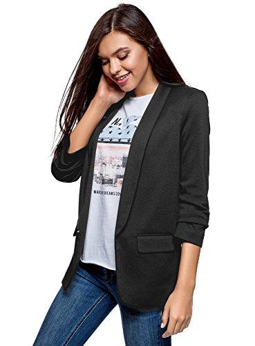 oodji Ultra Damen Jersey-Blazer mit 3/4-Ärmeln, Schwarz, DE 34 / EU 36 / XS