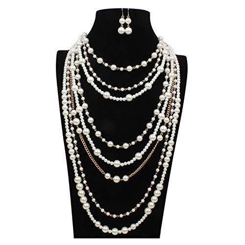 Sunny-U Multi-Lagen Exaggerated Pearl Halskette Clavicle Necklace Ohrringe Set Temperament Versatile Gegenstand Dekoration Full Handmade Ornament
