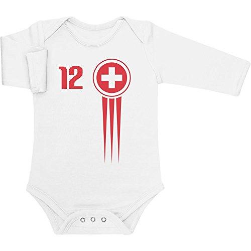 Shirtgeil Süsser Baby Fanartikel Schweiz Trikot Fanshirt EM 2020 Baby Langarm Body Newborn Weiß