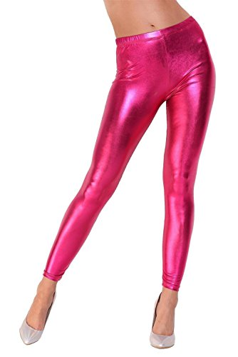 Metallic Leggings Kostüm - Leggings Metallic Latex Wet Look Lack Leder Optik Gr. S M L XL XXL 3X 4XL, 1905 Pink XL/42