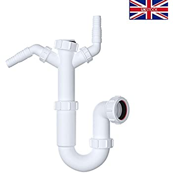 Kitchen Sink Double Waste Pipes | 1.5 Bowl Universal U-Bend ...