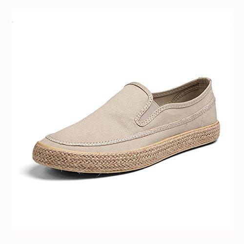 YIXINY Schuhe Mode Nichtstuer Männlicher Student Jugend Leinwand Frühling / Herbst ( Farbe : Khaki , größe : EU43/UK9/CN44 ) (Khaki Leinwand Jugend)