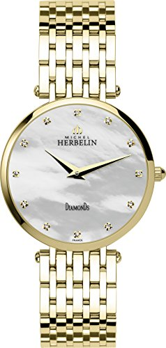 Michel Herbelin Epsilon Midi Bct Women's Quartz Watch with Mother of Pearl Dial Analogue Display and Gold Stainless Steel Gold Plated Bracelet 17345/BP89