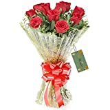 The FloralMart Fresh Flower Bouquet of 08 Red Roses in Cellophane Wrapping Hand Tied with Ribbons