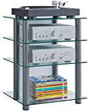 "VCM Hifi Möbel Rack Phono Turm Medienrack Medienmöbel Regal Tisch Aluminium Glas Silber / Klarglas Farbwahl ""Bilus"""