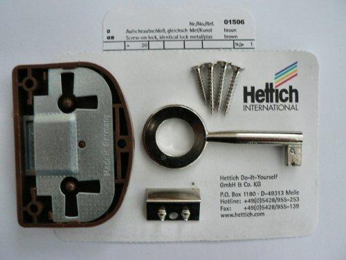 Hettich Aufschraubschloß mit Schlüssel gleichschließend braun, Dorn: 20 mm, 1 Stück, Artikelnr. 1506