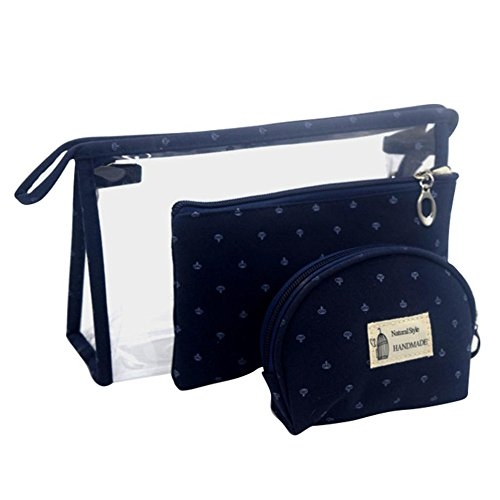 Longra Donna Sacchetto cosmetico trasparente, sacchetto di stoccaggio, sacchetto della borsa Blu scuro