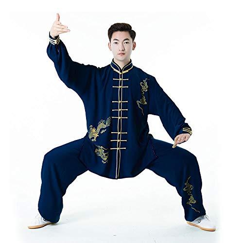Uniform Herren Navy Kostüm - Tai Chi Uniform Herren Fine Print Tang Anzug KostüM Kampfkunst Wettbewerb Herrenbekleidung Chinesischen Stil Tai Chiquan,Navy-XXL