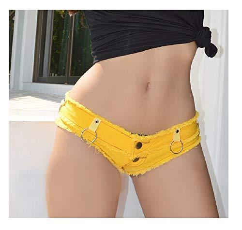 Heiße Shorts Sommer Cowgirl Shorts Ultra Short Low Waist Jeans Hot Pants Nachtclub Frauen hängen Ring Short (Color : Yellow, Size : (Hot Sexy Cowgirl Kostüm)