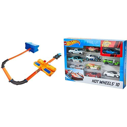 Hot Wheels DWW95 - Track Builder Superstunt Box, Trackset und Zubehör Kiste mit Bausteinen und Starter inkl &  Wheels 54886 1:64 Die-Cast Auto Geschenkset