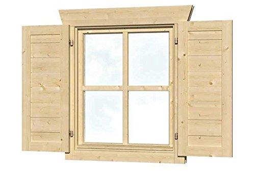 SKAN HOLZ Fensterläden für Einzelfenster Gartenhäuser-Zubehör, Natur, 2,5x57,5x70,5 cm