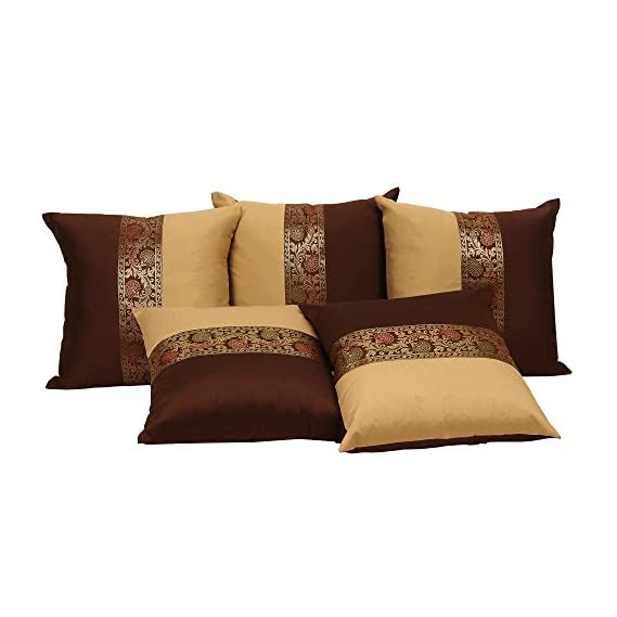 DARJII Cushion Covers for Sofa Cushion Cover 16x16 Set of 5 Silk Ethnic Bedroom D?cor
